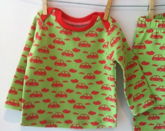 Sweater and trousers with cars and clouds, elastic cotton, 74 mt