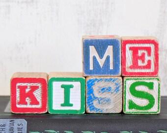Kiss Me Vintage Wood Alphabet Blocks