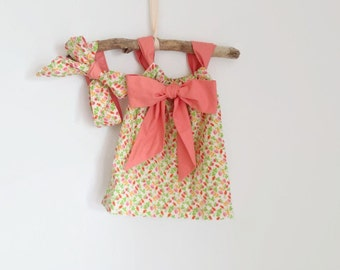 Girl pillowcase dress pink with belt and headwrap