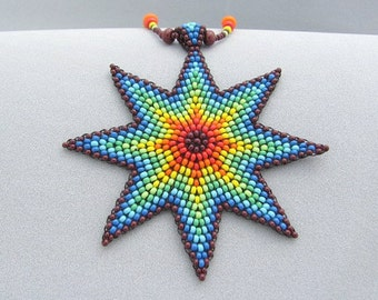 Seed Beed Rainbow Star Necklace,Beadwork Necklace, Native Jewelry.