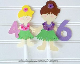 Hula girl topper, Luau Hawaiian girl cake topper, luau hawaiian birthday party, luau hawaiian baby shower, sisters cake topper