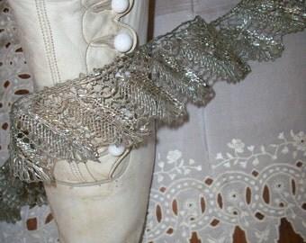 Antique metal lace silver