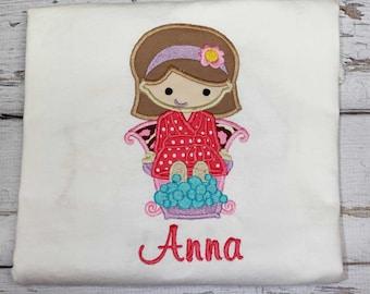 Spa Birthday Shirt,Girls Spa Shirt,Birthday Party Shirt, Embroidered Applique Shirt
