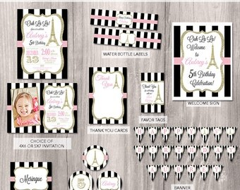 Paris Party Package, Paris Birthday Invitation, Paris Party, Eiffel tower party, French theme party package, Printable Party Package