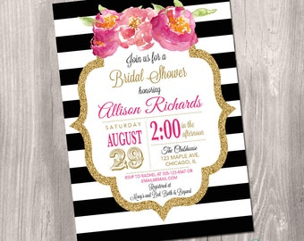 Black and White Bridal Shower Invitation, Floral Bridal Shower Invitation, Gold glitter Invitation, stripes, Digital, Printable Invitation
