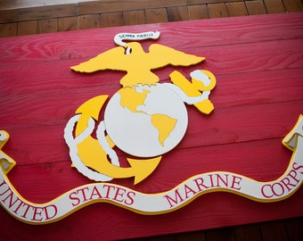 Marine Corps Flag, United States Marine Corps Wood Flag, US Marines, US Marines Flag, USMC Flag, Semper Fi, Wooden Flag, Wall Art, Military