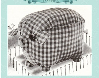Paper pieces-1940s 'rag bag' piggy pig toy sewing pattern- full size paper pieces-3 sizes