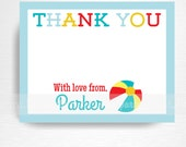 Blue Red Yellow Beach Ball Digital Thank You Card YOU PRINT