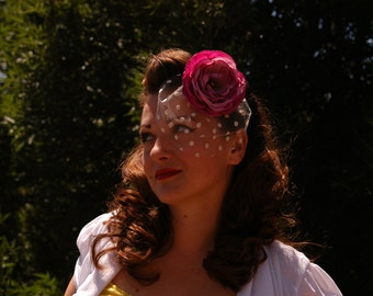 Vintage inspired floral facinator hair accessory