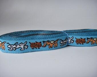 5/8'' Dog Pattern Jacquard Ribbon Blue Woven Ribbon