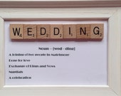 Wedding Scrabble Frame with Word definition, Scrabble Art, Scrabble Frame, Valentine's Gift, Wedding Gift