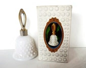 Vintage Avon Hobnail Bell - Sweet Honesty Cologne - white milk glass, gold tone handle - 1970s - decanter, in box, collectible, Fenton style