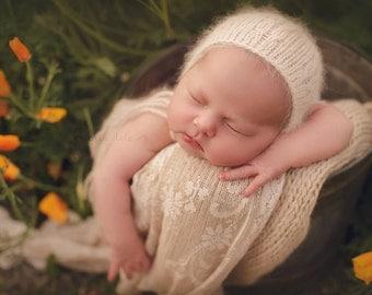 Bella bonnet - angora yarn - newborn photo props