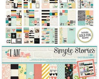 """Scrapbooking paper set """"I Am"""" by Simple Stories 12'x12'"""