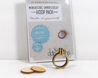 1-inch Miniature Hoop, Embroidery Hoop, Tiny Wooden Hoop, Craft Supply, DIY Kit [DH-1R]