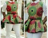 African print peplum top, African clothing, theafricanshop, african blouse, african top, ankara peplum blouse, ankara clothing, prints, wax