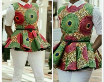 African print peplum top, African clothing, theafricanshop, african blouse, african top, ankara peplum blouse, ankara clothing, prints, wax