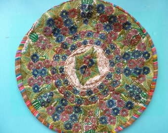 Vintage Embroidered Pillow Cover Made in Guatemala From a Recyled Huipil Green Floral Pattern Round