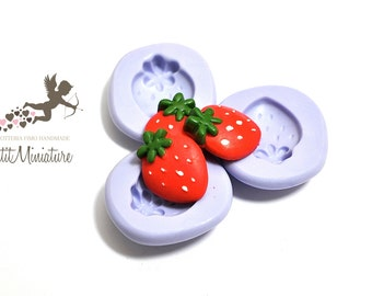 Flexible silicone mold 1,8cm Kawaii strawberry sweet mold Fimo jewelery Charms ST200