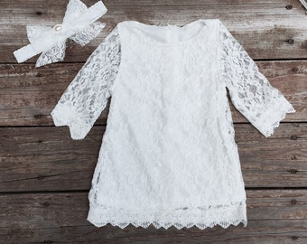 Lace flower girl dress. Flower Girl dress. Vintage lace dress. White lace girls dress. Country wedding.Toddler lace dress
