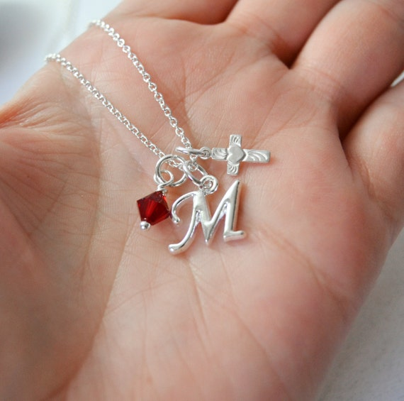 christening necklace sterling cross necklace by sugarplumgems
