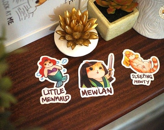 Disney Purrincess Pack Mulan Little Mermaid Funny Cat Stickers