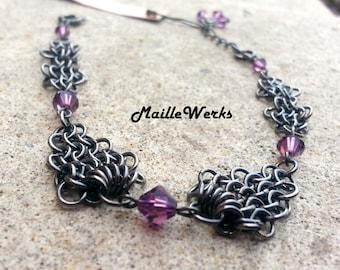 Amethyst Micro Chainmaille Bracelet / Swarovski Austrian Crystal Beads / Amethyst Crystal Bracelet / Chainmail Bracelet / Chainmaille / USA