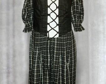 Vintage 80's Austrian Tyrol Black Dress