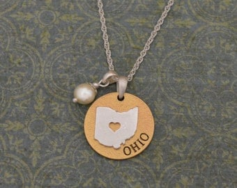 Ohio Love Necklace with Pearl Accent - 22464
