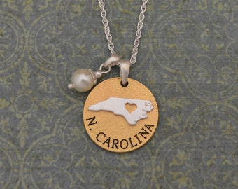 North Carolina Love Necklace with Pearl Accent - 22463