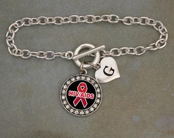 Custom Initial HIV AIDS Awareness Bracelet