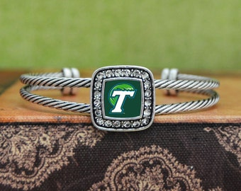Tulane Green Wave Square Cuff Bracelet