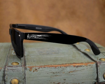 Music Notes Black Wayfarer Sunglasses
