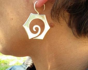 Sacred Geometry Sterling Silver Earrings W Standard Size Ear Hook