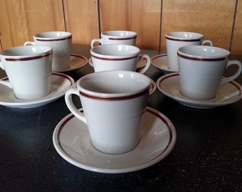 Set of 7 Homer Laughlin Red and Gold Striped Diner Ware Saucers and Coffee Mugs - Great Restaurant Ware