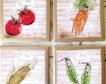 COASTERS!!! Set of 4 Eat your Veggies ceramic coasters with hand painted gold trim