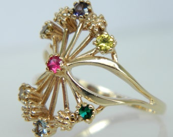 Beautiful Vintage 10K Gold Gemstone Ring