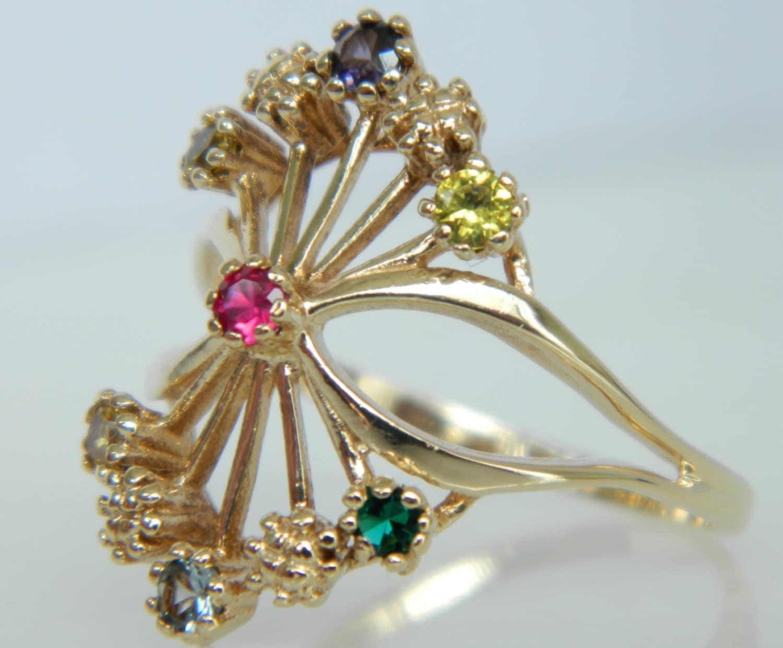 beautiful vintage 10k gold gemstone ring
