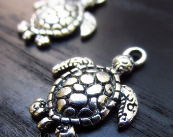 Turtle Charms - 10/20/50 Wholesale Ocean Antiqued Silver Plated Pendants C2891