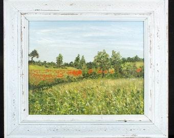 Original framed oil painting Poppy Field Landscape
