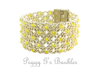 Bracelet, Yellow and Silver Wide Cuff Beaded with Magnetic Bar Clasp, Yellow Beaded Bracelet, Swarovski Crystal Bracelet, FREE SHIPPING