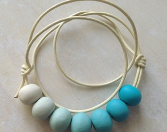Girls Ombré Clay Necklace in Aqua