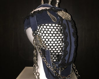 Metal Spike Face Cage Suede Headpiece designed by Topher Adam