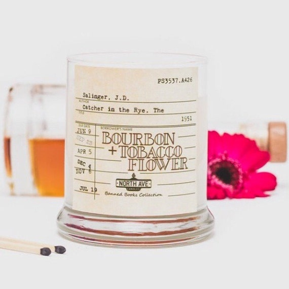 Bourbon + Tobacco Flower Scented Candle / Inspired by The Catcher in the Rye / Part of North Ave Candles' Banned Books Collection
