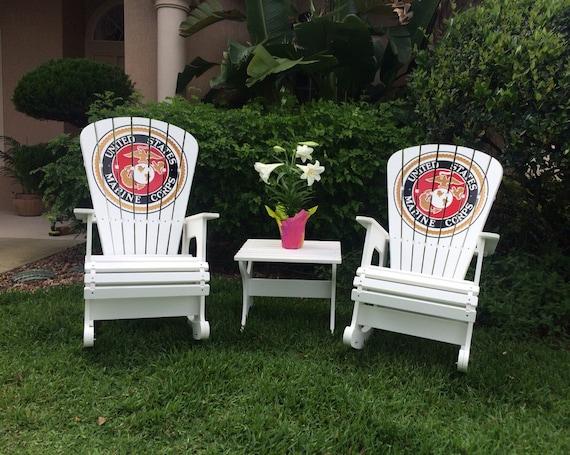 Marine Corps Engraved Rock Harbor Set Outdoor Furniture