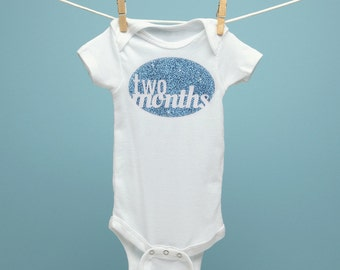 New Baby Gift, TWO MONTH ONESIE, 2 month onesie, baby gift, cute baby onesie, bodysuit, glitter, the perfect gift for a new baby, white