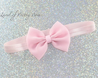 Light Pink Headband Pink Hair Bow  Chiffon Hair Bow Baby Headband Girl Hair Bow Fabric Hair Bow