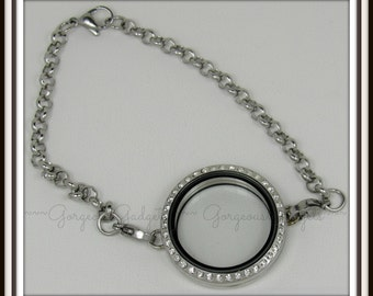 30mm Floating Locket / Glass Locket Bracelet Stainless Steel With Crystals