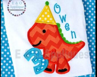 Dino 3rd Birthday Applique Design -  Dinosaur Applique Design - Birthday Applique Design