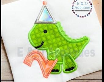 Dino Birthday Applique Design #2 -  Dinosaur Applique Design - Birthday Applique Design